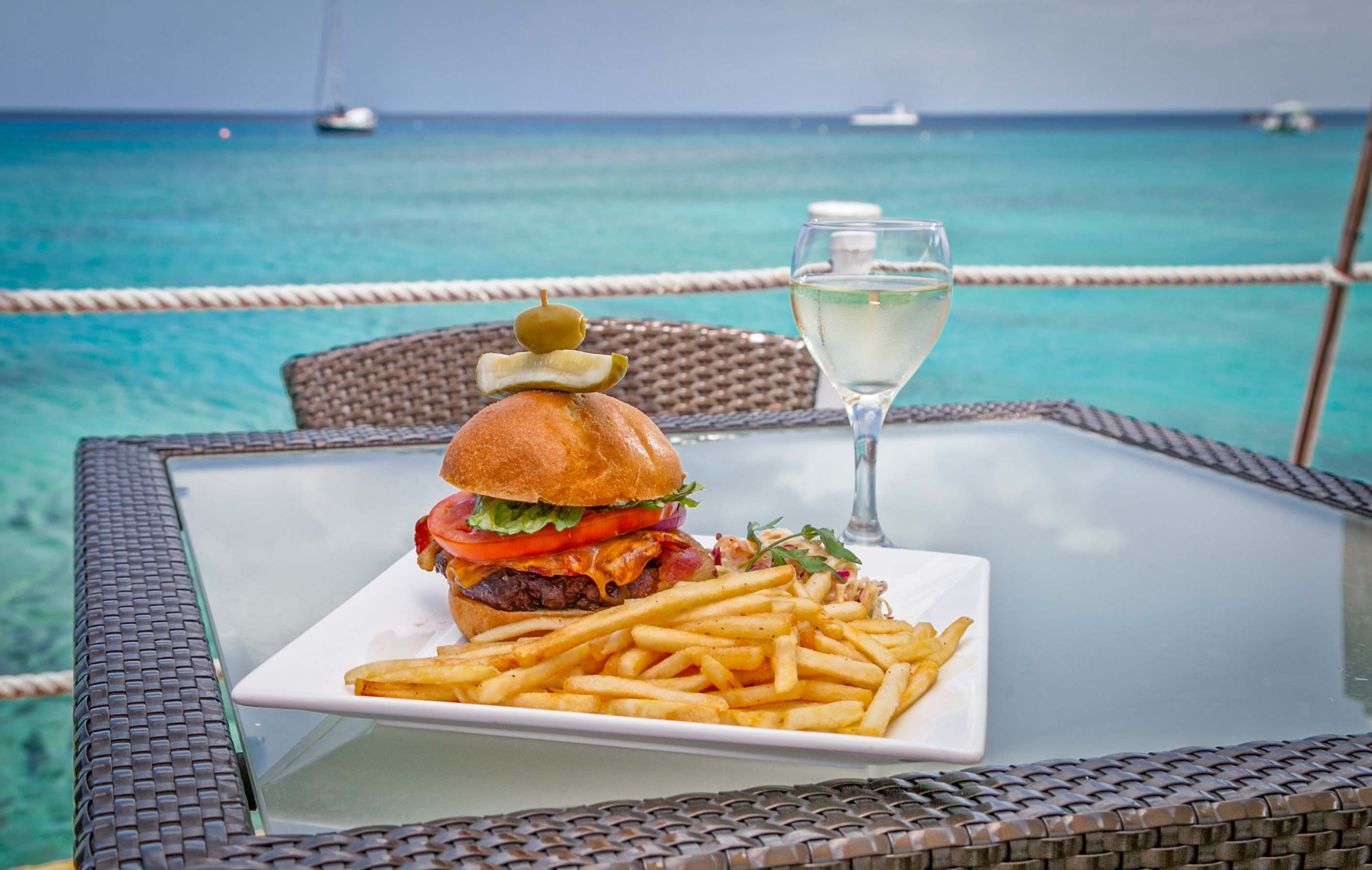Burger and chips served at the waterfront restaurant